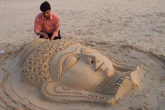 Sand sculptor Ranjan Kumar Ganguly